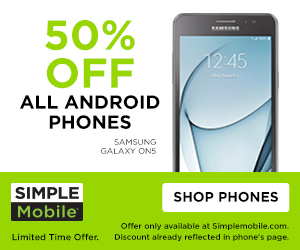 Simple Mobile 50 percent off android phones